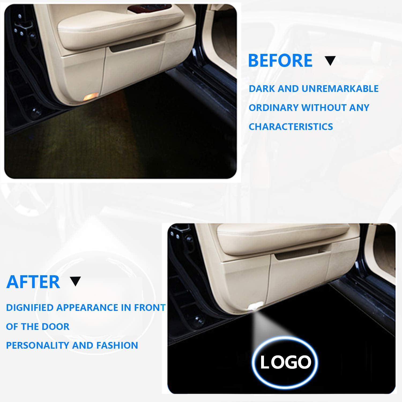4 pcs Travay Car Door Lights Logo Projector Universal Wireless Car Door Led Projector Lights Compatible with Some Years Audi for A3 A4 A5 A6 A7 A8 Q3 Q7 R8 RS S-Series TT and Other Model