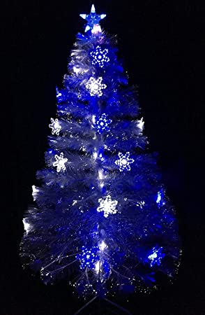 White Christmas Tree With Blue Lights.Christmas Concepts 60 Inch 5ft Transparent Led Fibre Optic Christmas Tree With Blue White Led Colour Changing Snowflakes