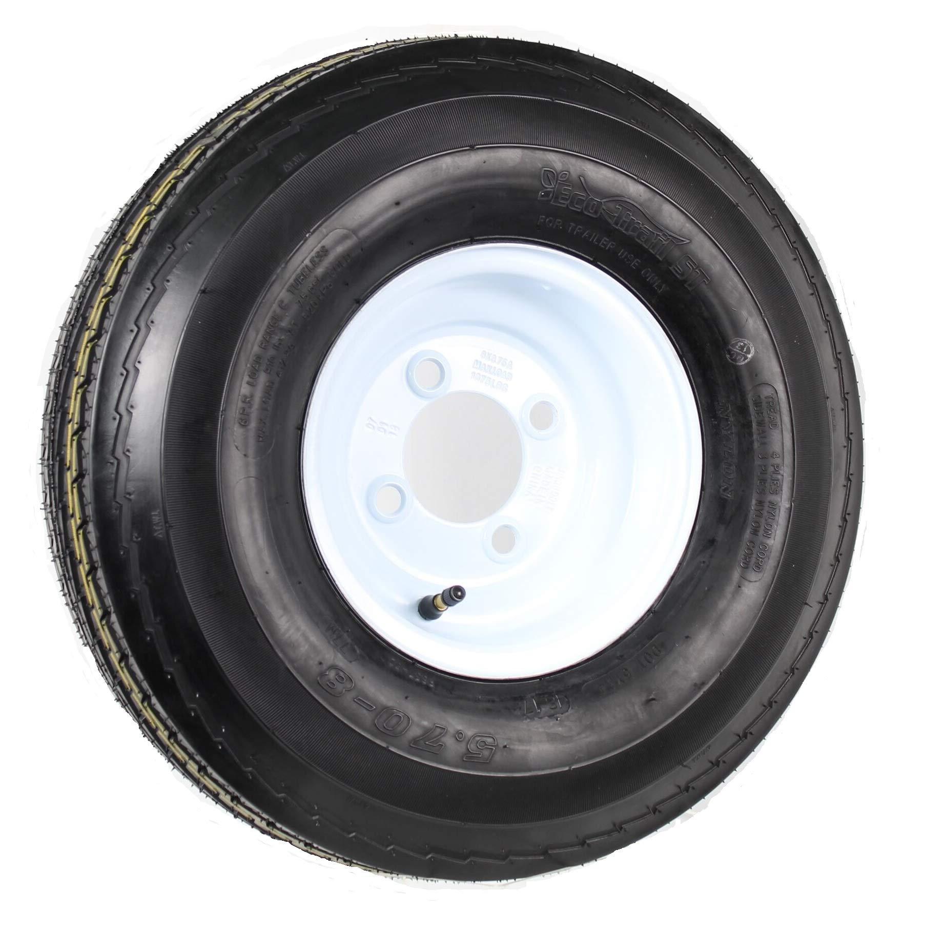 Kenda Loadstar 5.70 X 8 Bias Trailer Tire W/5-Lug Standard White Rim by Loadstar Tires