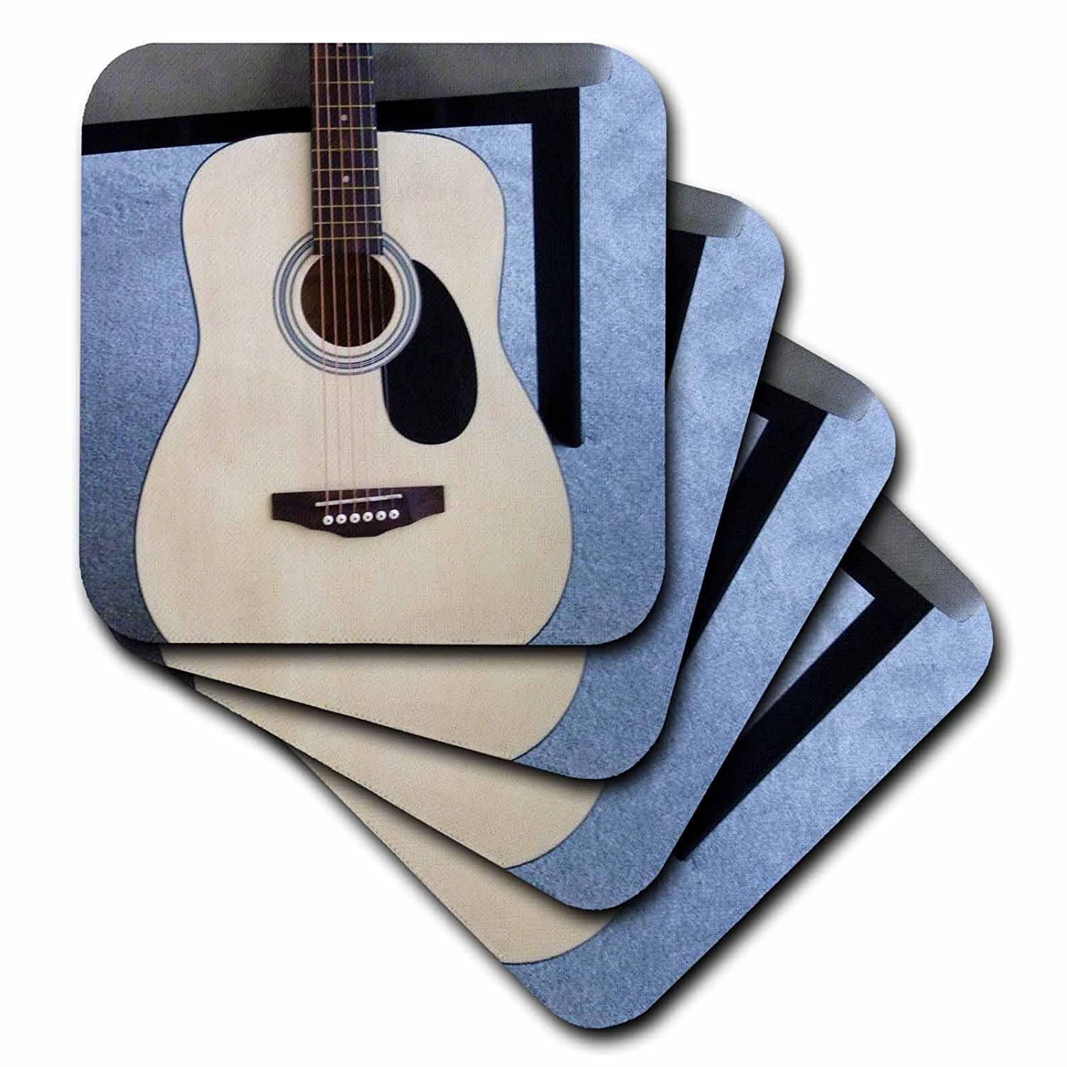 Set of 4 3dRose cst/_38248/_1 Beige and Brown Guitar Soft Coasters