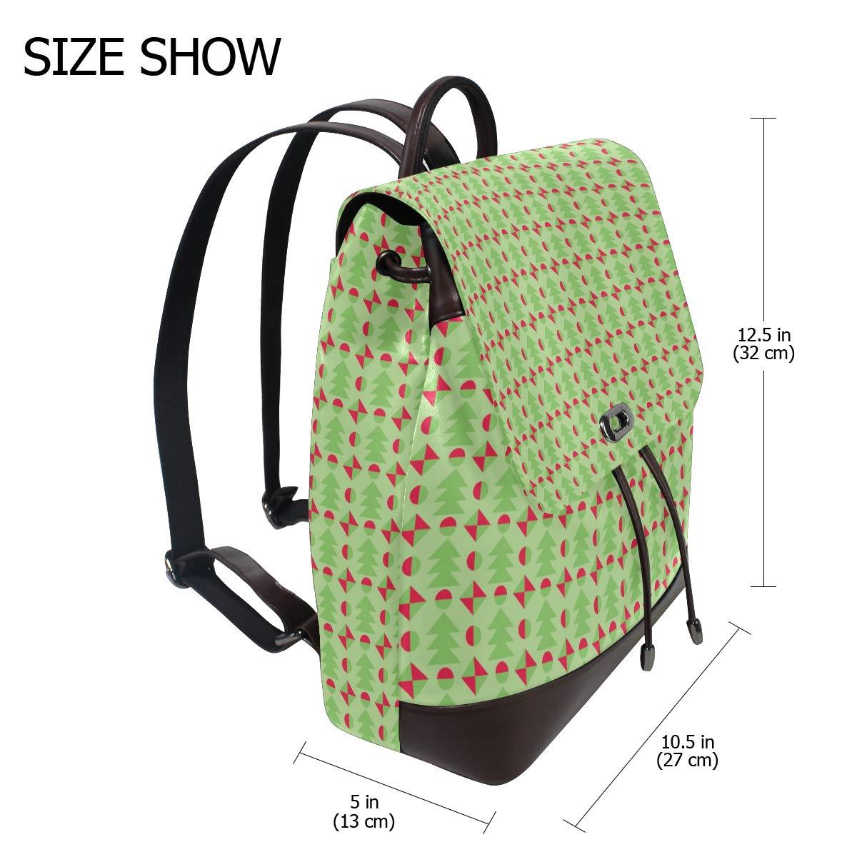 Unisex PU Leather Backpack Retro Christmas Green Xmas Print Womens Casual Daypack Mens Travel Sports Bag Boys College Bookbag