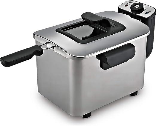 Grunkel - FR-40 EXTRA - Freidora eléctrica 4 litros de capacidad y protección contra sobrecalentamiento. Filtro antiolores y fácil limpieza - 2200W - Acero inoxidable: Amazon.es: Hogar