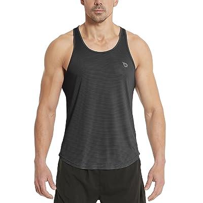Baleaf Men's Bodybuilding Gym Stringer Y Back Striped Tank Top