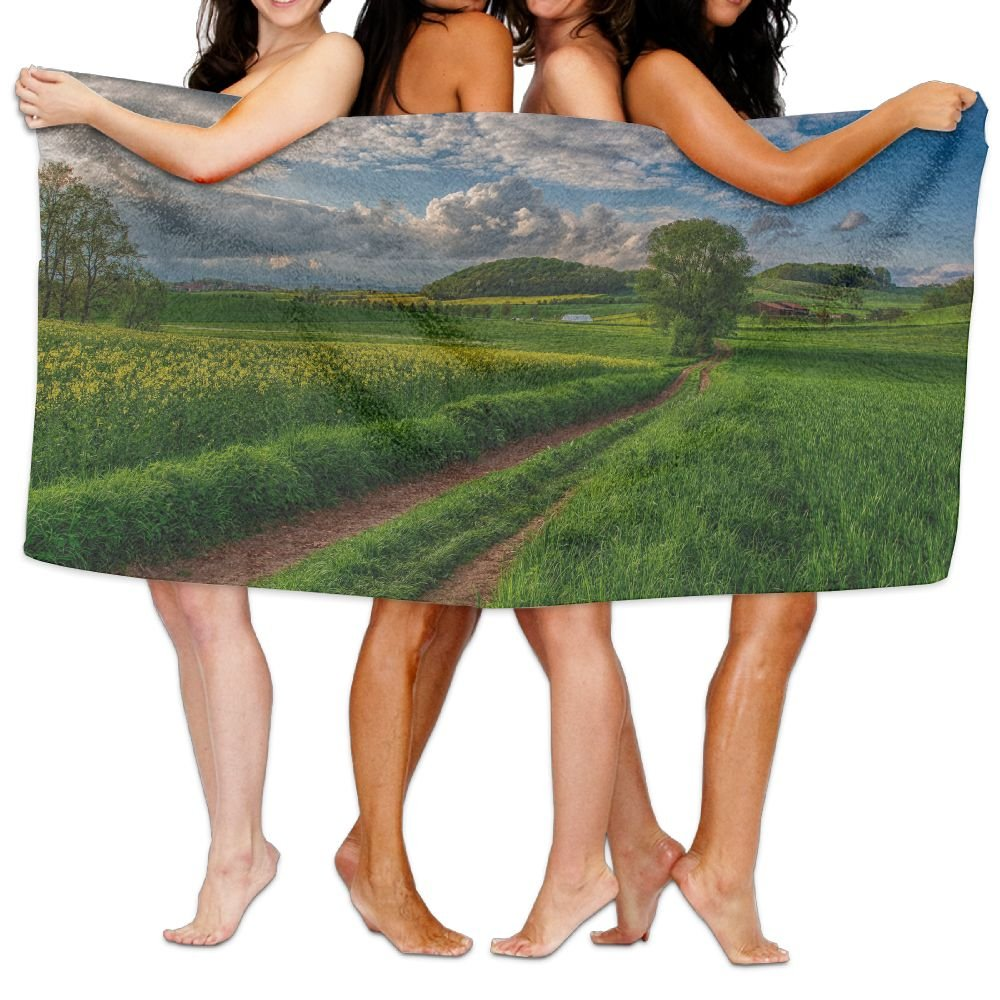 PengMin Countryside Road Path Premium 100% Polyester Large Bath Towel, Pool And Bath Towel (80'' X 130'') Natural, Soft, Quick Drying