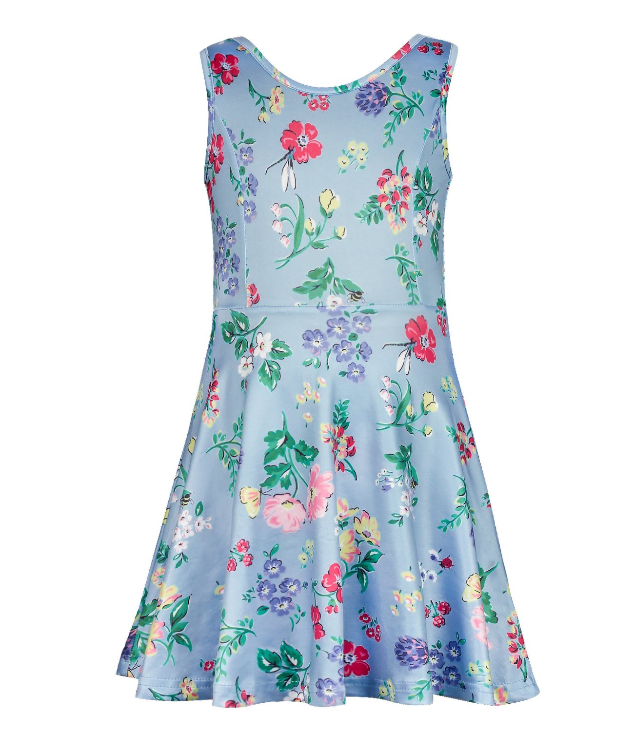 PHOEBE CAT Girls Sleeveless Soft Floral Summer Casual Dress for 6 Years