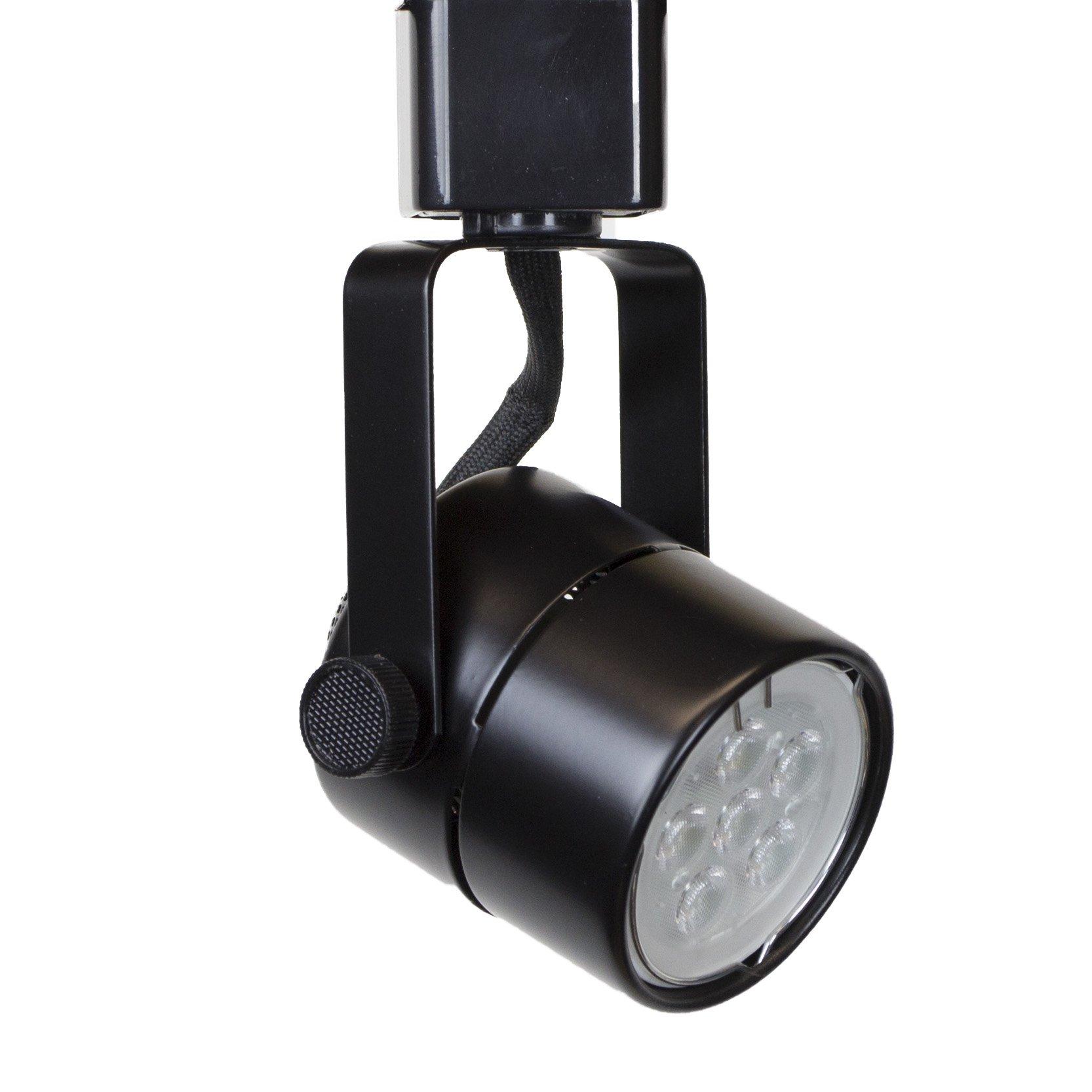 Direct-Lighting H System 3000K GU10 LED Track Lighting Head Black - With 3000K Warm White 7.5W LED Bulb 50154L