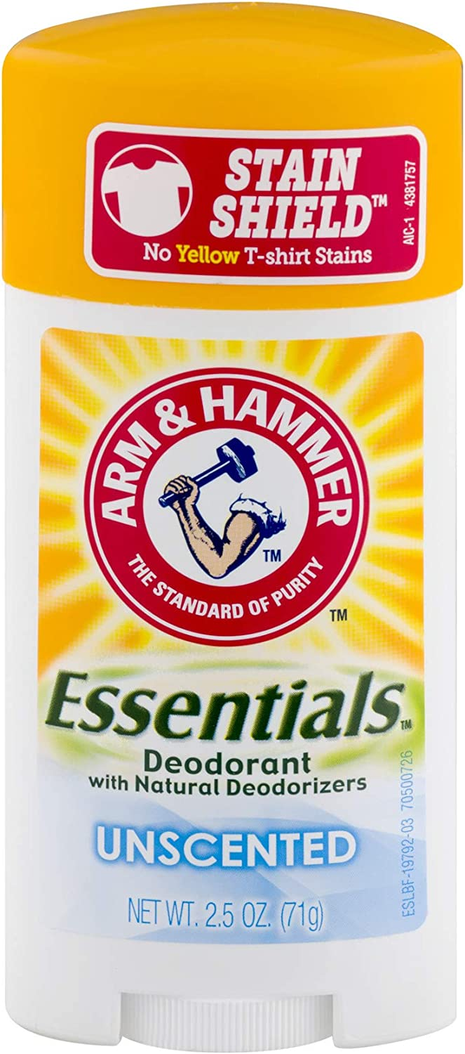 Arm & Hammer Essentials Natural Deodorant, Unscented 2.5oz, 4 Pack