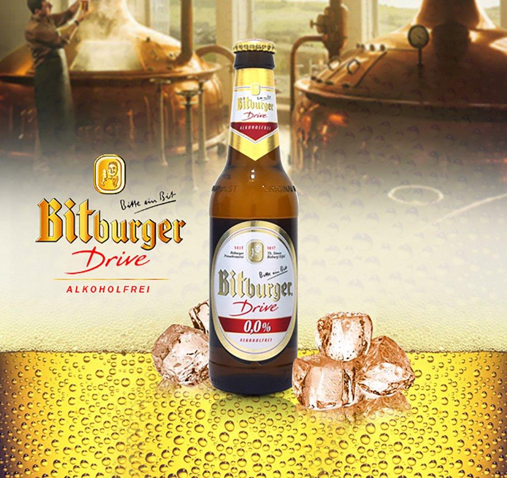 Bitburger Drive Non-Alcoholic Malt Beer, 11.2-oz (330 ml) Case Of 12 Glass Bottles