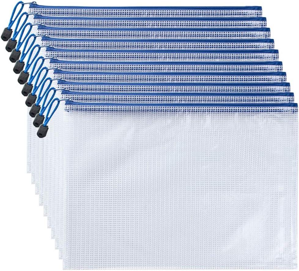 AUSTARK 10Pcs Zipper File Bags, Zipper Pouch, PVC Document Bag Zipper Folders Document Pouch Receipts Organizer for Office School Home Travel (A3 Size 16.9 x 12 Inches, White)