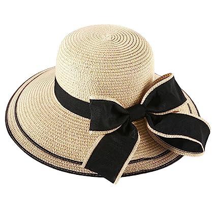 1f98ca086a2 HugeStore Elegant Wide Brim Bowknot Summer Beach Straw Hat Sun Hat Cap for  Women Laides Beige