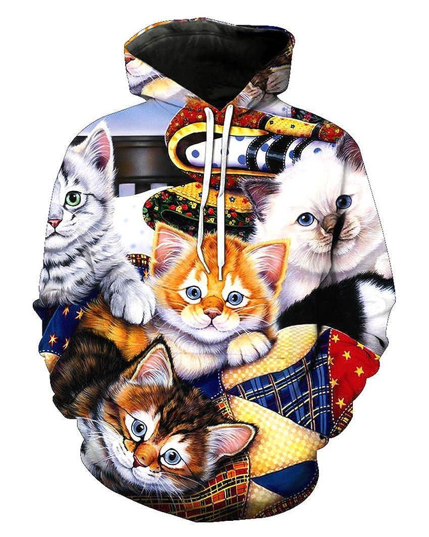 Takra Gold Unisex Cute Cat Print Hoodies Pullover Sweatshirt Hip Hop Hoody