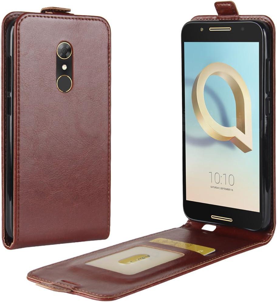 HualuBro Funda Alcatel A7, [Protección Todo Alrededor] Premium PU Cuero Leather Piel Carcasa Case Flip Cover con Ranuras de Tarjetas para Alcatel A7 Smartphone (Marrón): Amazon.es: Electrónica