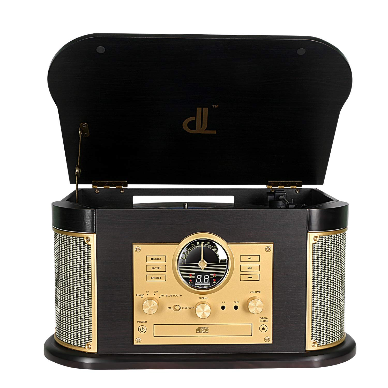 DLITIME Record Player con Am&FM Radio/USB/RCA/AUX/CD/Bluetooth ...