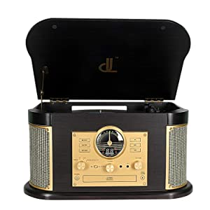 Record Player,DLITIME 3-Speed Vinyl Turntable Built-in 2 Bluetooth Speakers, Headphone Jack/Aux in/RCA/LED/USB/CD/FM/AM Radio Player