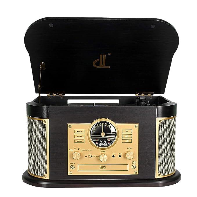 DLITIME Record Player con Am&FM Radio/USB/RCA/AUX/CD/Bluetooth Stereo Speaker Placa Giratoria de Vinilo