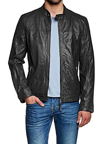 Premium Leather Outwear Mens Lambskin Real Leather Jacket-XXX-Large