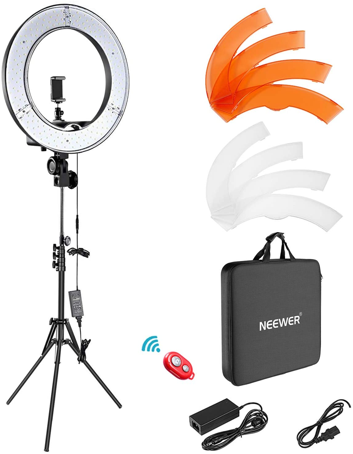 Kit de luces de anillo Neewer: 18.9 in, exterior 55 W, 5500 K, luz de anillo LED regulable, soporte de luz, bolsa de transporte para cámara, smartphone, YouTube, disparo de autorretrato