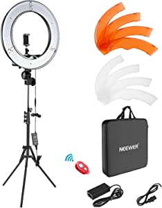 "Neewer Ring Light Kit:18""/48cm Outer 55W 5500K Dimmable LED Ring Light, Light Stand, Carrying Bag for Camera,Smartphone,YouTube,TikTok,Self-Portrait Shooting, Black, Model:10088612"