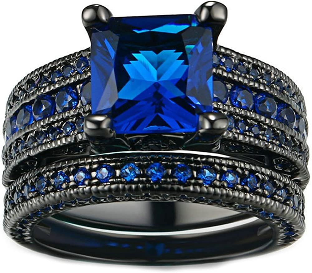 Amazon Com Jajafook Personality Vintage Women S Black Gold Rose With Green Blue Diamond Wedding Band Rings Set Jewelry