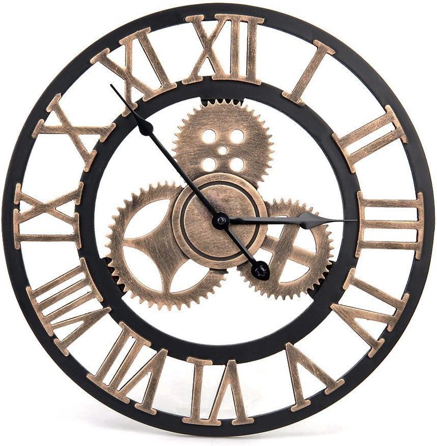 Reloj de pared vintage–Reloj de pared retro estilo artistico europeo con corona decorativa y números romanos hecha a mano de 3d para salón cocina dormitorio de cama Bar Cafe, esfera de