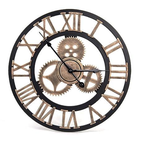 WHJY Reloj de Pared Vintage – Reloj de Pared Retro Estilo artistico Europeo con Corona Decorativa