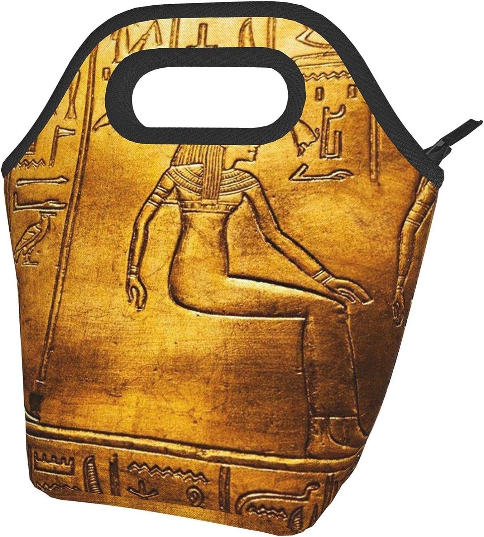 Egypt Jeroglyphics - Fiambrera térmica con impresión de jeroglíficos de Egipto, bolsa de almuerzo abierta, ligera, aislante y reutilizable