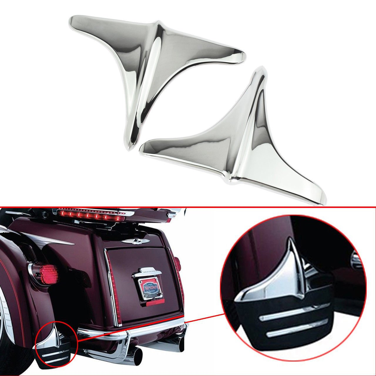 Rear Fender Accents Leading Front Edge Trim for Harley Touring Trikes Tri Glide UItra Classic 2009-2017 (Chrome)