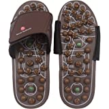 BYRIVER Acupressure Foot Massager Jade Stone Acupoint Massage Slippers Shoes Reflexology Sandals for Men Women(L)
