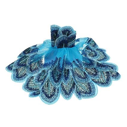 Sharplace Fashion Eelegante Vestido de Pavo Real de Bordado para Barbie Muñeca Adorno Ornamento de Coche