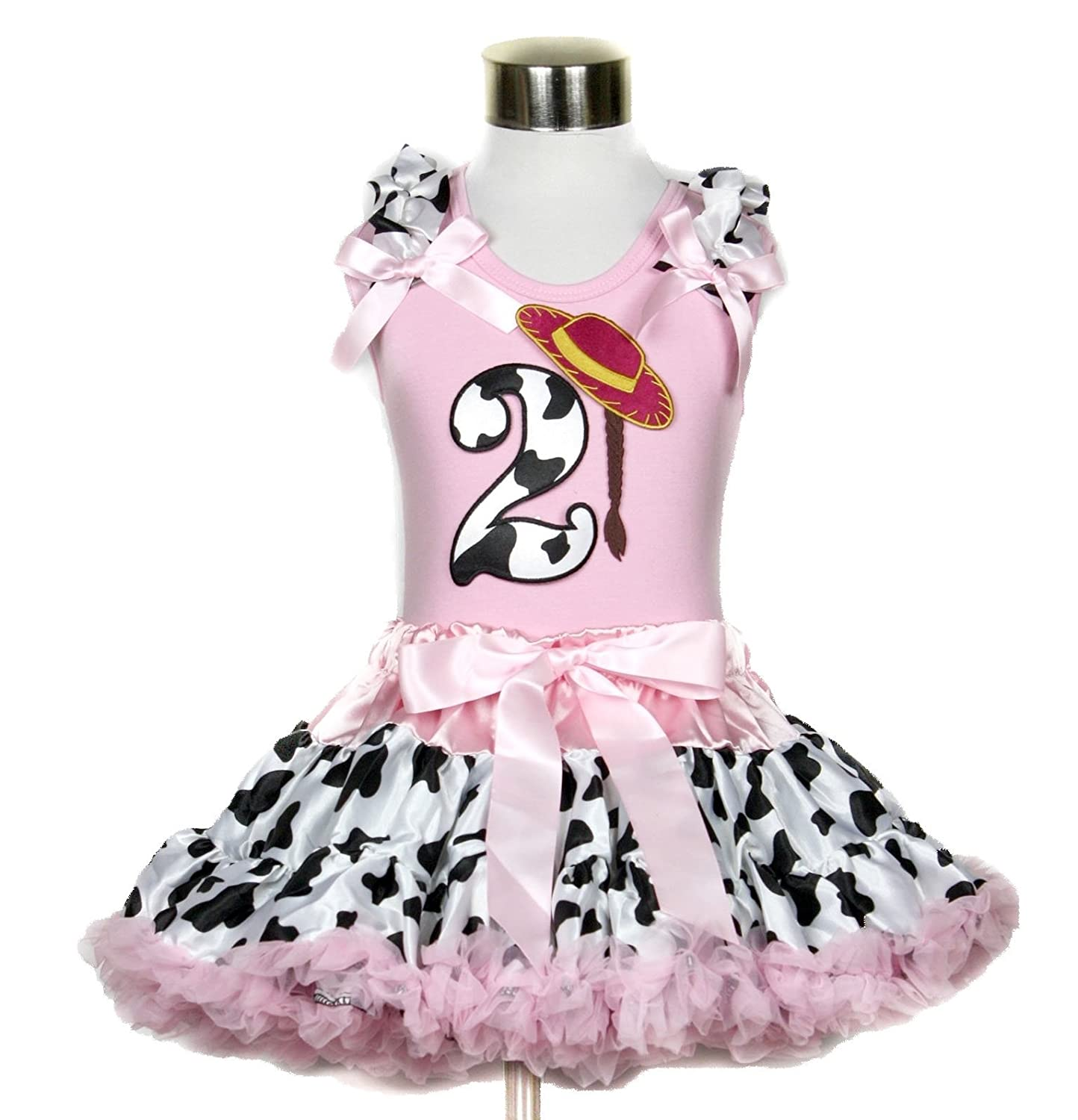 Cowgirl Hat 2nd Birthday Cattle Shirt Pink Cow Pettiskirt Girl Clothing 1-8y