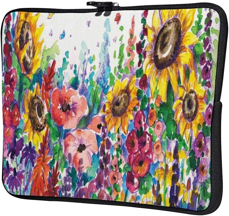Floral Watercolor Style Wildflowers Neoprene 12 Inch Laptop Sleeve Case Protective Cover Carrying Bag for 9.7 10.5 iPad Pro Air// 10 Microsoft Surface Go// 10.5 Samsung Galaxy Tab