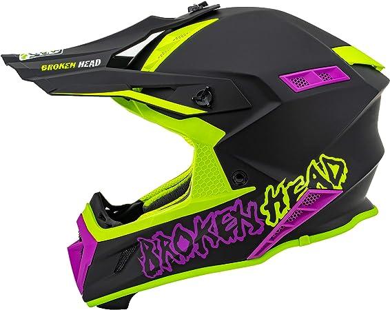Broken Head Mx Helm The Hunter Light Grün Pink Sehr Leichter Profi Moto Cross Helm Auto