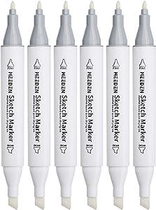 MEEDEN 6pcs 0# Colorless Blender Marker Alcohol Based Ink Double Head Sketch Marker Set for Artist Manga Painting Blender Supplies