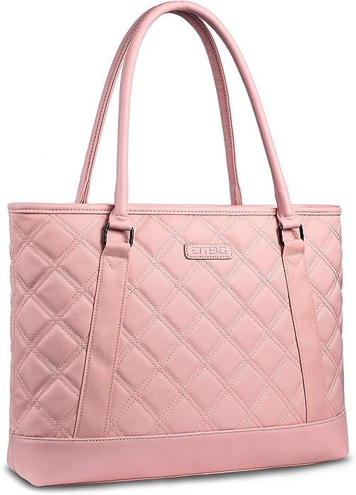 Laptop Tote Bag DTBG 15.6 Inch Women Shoulder Bag Canvas Briefcase Casual Handbag Laptop Case 15-15.6 Inch Tablet/Ultra-Book/MacBook/Chromebook(Rose Glod)
