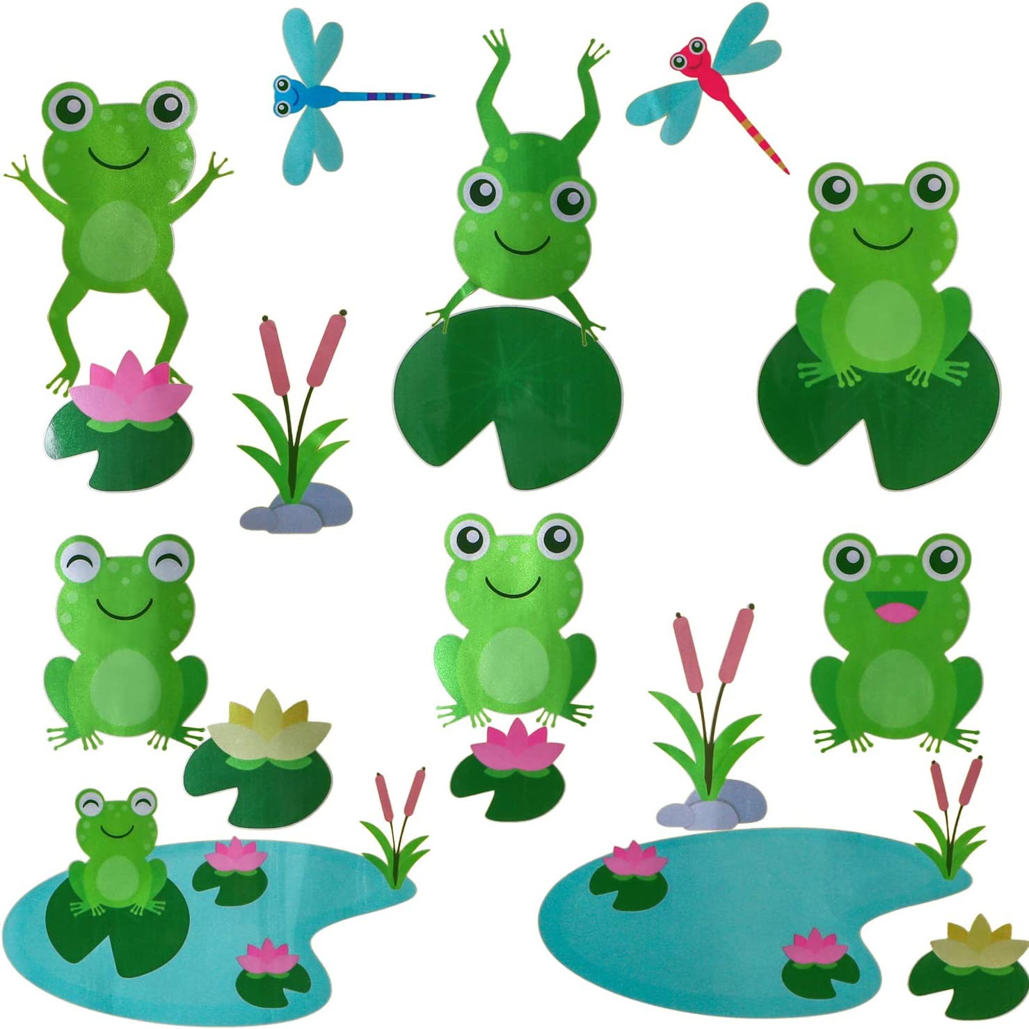 Cute Frog Decals Wall Stickers Jumping Frogs with Dragonflies and Lotus - Pond Friends Frog Window Sticker Set Individual Peel and Stick Graphics on a (25.5 in W x 10.6 in H) Sticker Sheet