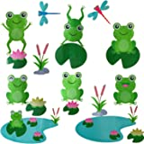 Cute Frog Decals Wall Stickers Jumping Frogs with Dragonflies and Lotus - Pond Friends Frog Window Sticker Set…
