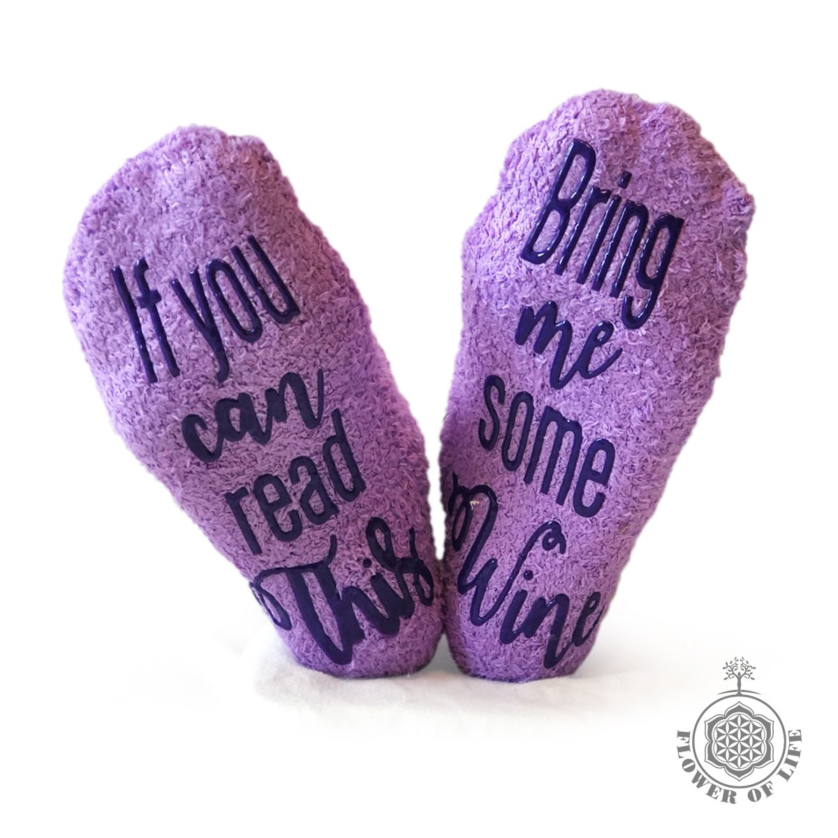 Gifts for Women - Birthday Gift for Her Mom - Funny Wine Socks - Purple with Cotton Bag and Anti-slip by FOLE INC by FOLE