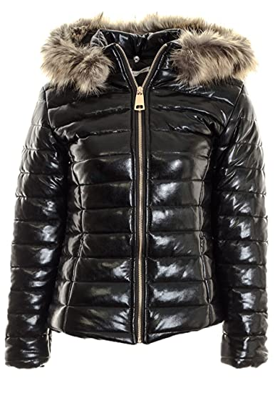 481b5235dcf Fuchia boutique Women s Shiny Black Faux Fur Collar Puffer Quilted Jacket  Ladies Warm Winter Coat. (Black Shiny