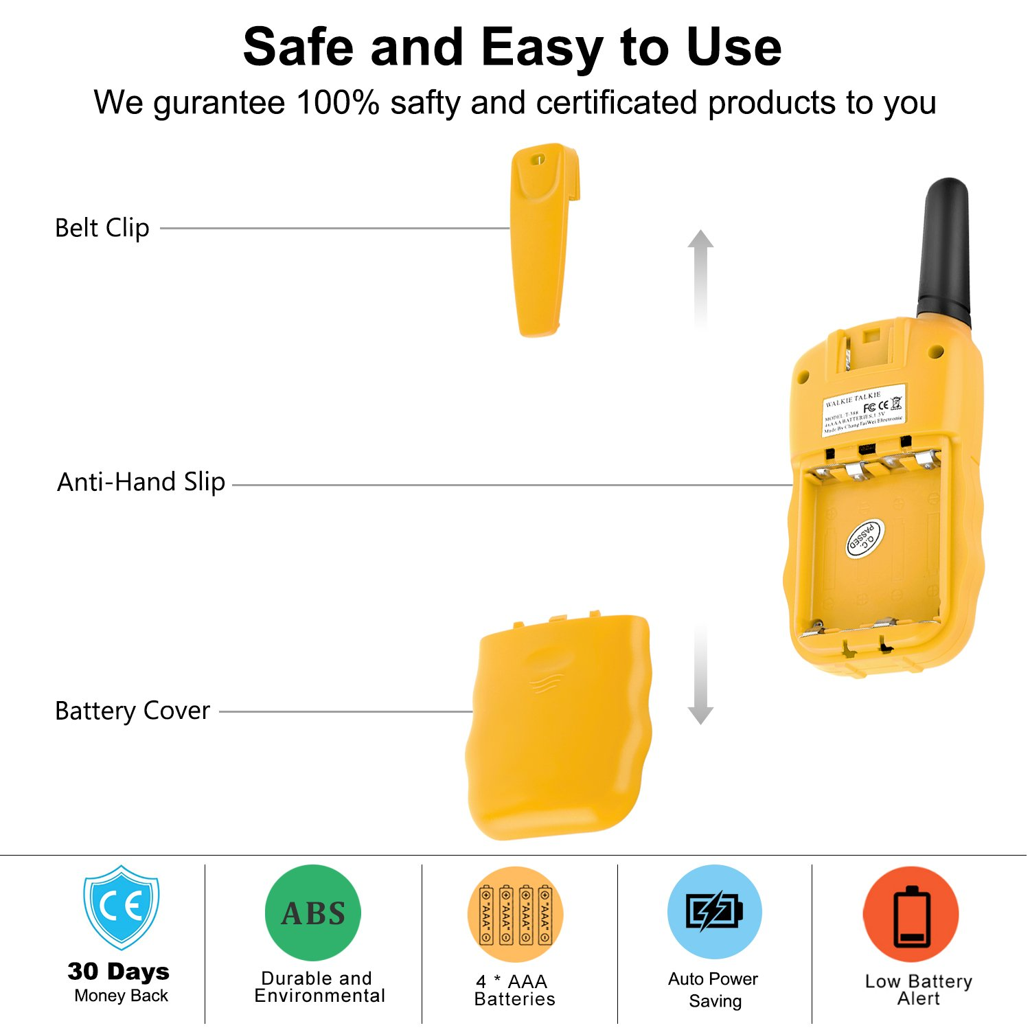 WisHouse Walkie Talkies for Kids, Toys for Boys and Girls Best Handheld Walky Talky with Flashlight,VOX Function,Share Your Happiness with Family and Friends Halloween(T388 Yellow 4 Pack) by Wishouse (Image #7)