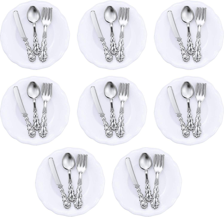 8 Pieces 1:12 Scale Miniature Plates and 24 Pieces Knife Fork Spoon Metal Tableware Dollhouse Miniatures Porcelain Plate Set Dollhouse Kitchen Accessories Dollhouse Decoration Accessories