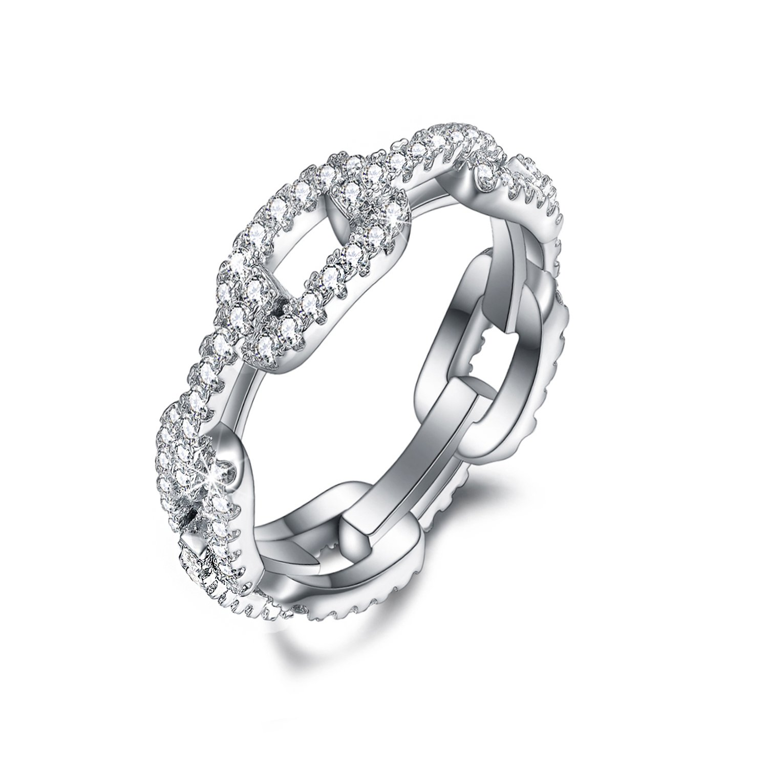 SPILOVE CZ Women Eternity Band 18k White Gold Plated Wedding Engagement Ring Fashion Jewelry, Size 6