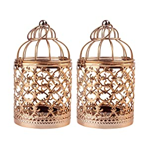 Ciaoed Small Decorative Tealight Lantern Vintage Birdcage Style,Table Decoration of Party,2 Pack (Rose Gold)