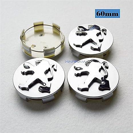 shangmao369 4 Piezas 60 mm Coche Estilo Accesorios Peugeot Emblema Adhesivo Tapas de Rueda Tapas de