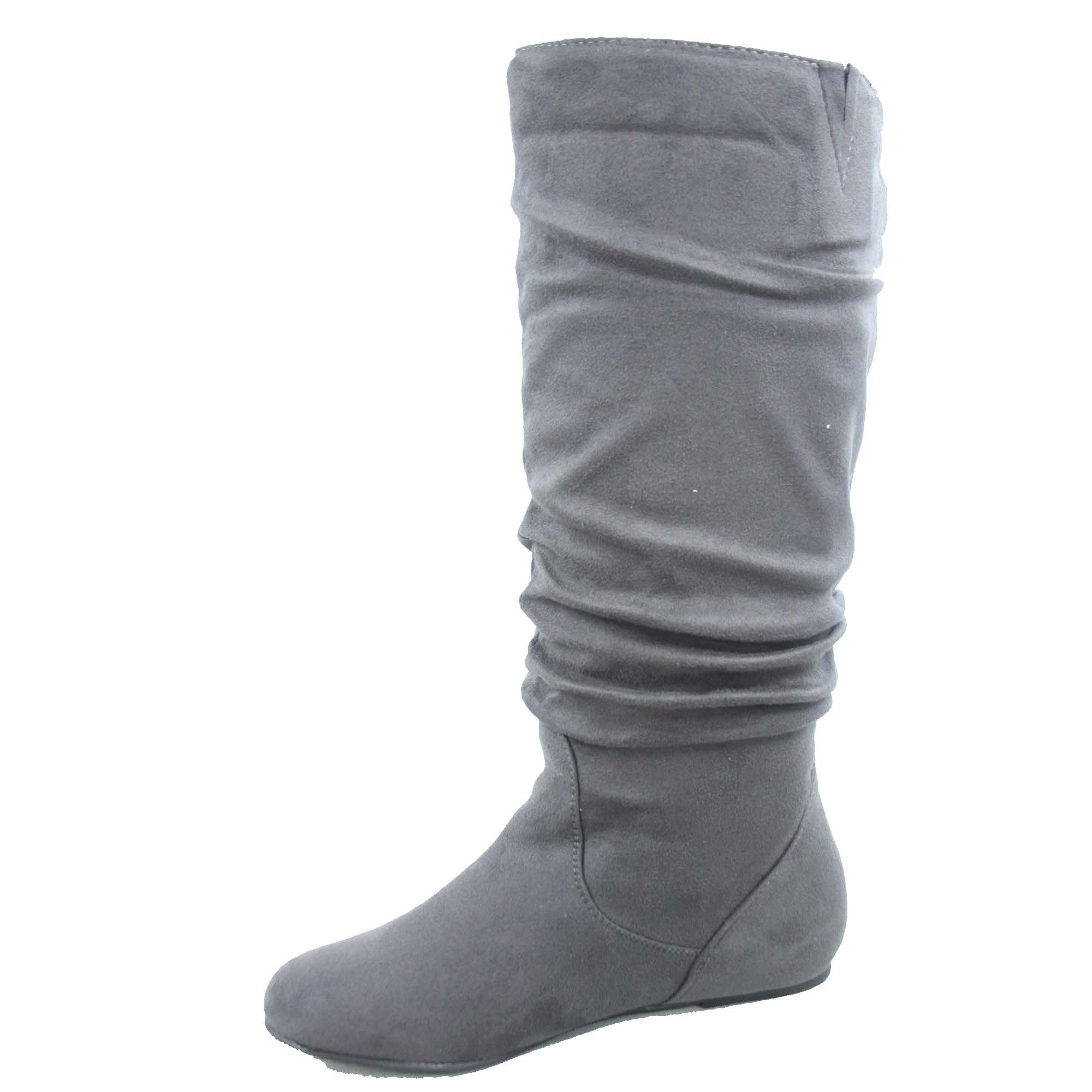 Top Moda Data-1 Women's Shoes Cute & Comfort Round Toe Flat Heel Slouchy Mid Calf Boot (7, Grey) by Top Moda (Image #2)