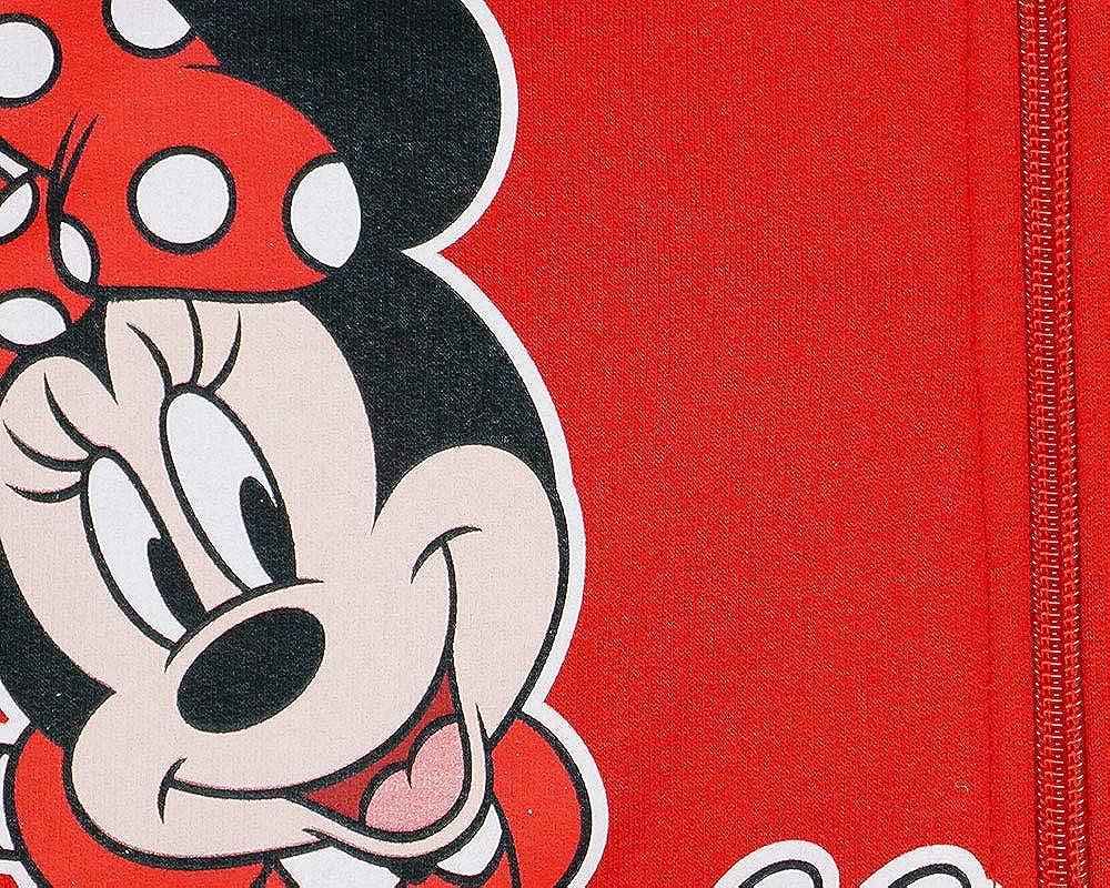 Minnie Mouse M/ädchen Kapuzenpullover in Rot und Grau in Gr/ö/ße 80 86 92 98 104 110 116 122 Baumwolle Disney Rei/ßverschlu/ß-Jacke Langarm Pulli