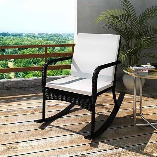 Lingjiushopping Silla Mecedora de jardín de Polirratán Negro Color del Mimbre Color Negro Color del cojín Color Blanco Crema: Amazon.es: Hogar