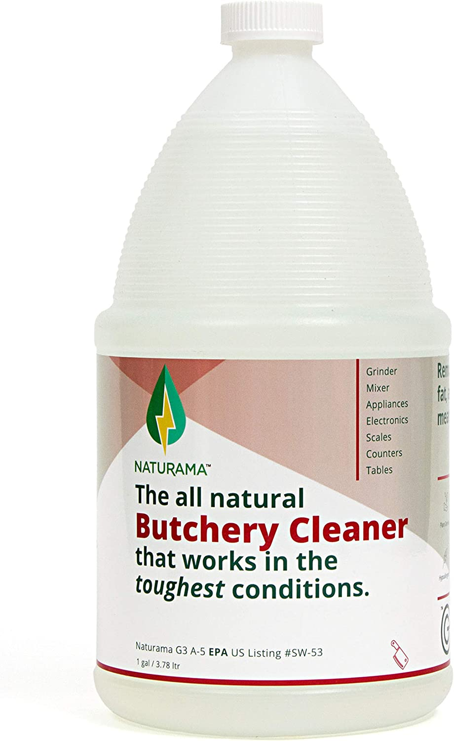 Naturama, All Natural Butchery Cleaner, Butchery Supplies, Home Butchering Supplies, Meat Processing Supplies Eco-Friendly. Safe Around Kids and Pets. Powerful, Odor-Free, Non Toxic. (1G)