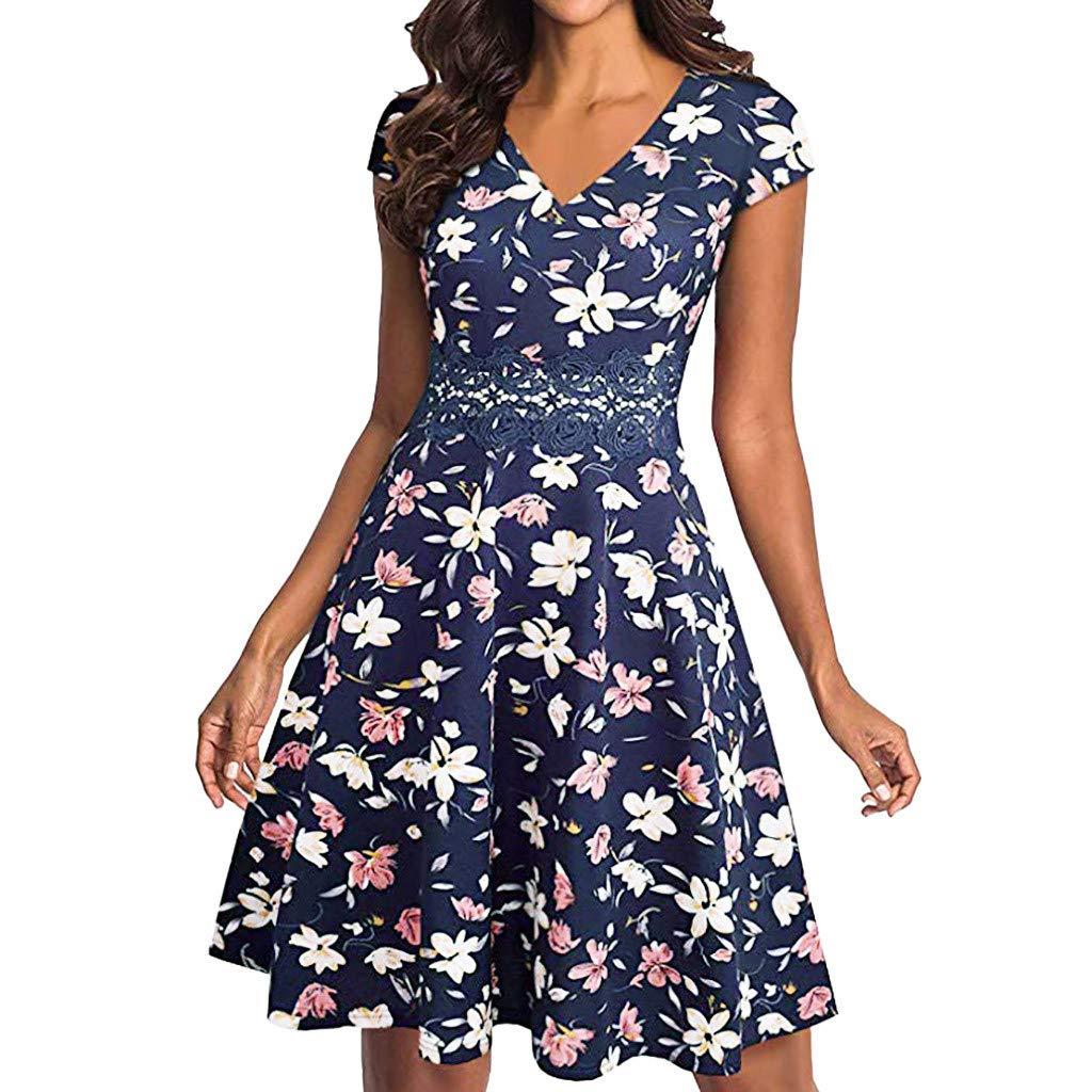 Modely Elegante Blumen Spitze Stickerei der Frauen ausgestelltes A-Line Swing-beiläufiges Partykleid Damen Sommerkleider Spitze Kleid Strandkleid Swing Boho Kleid Abendkleider