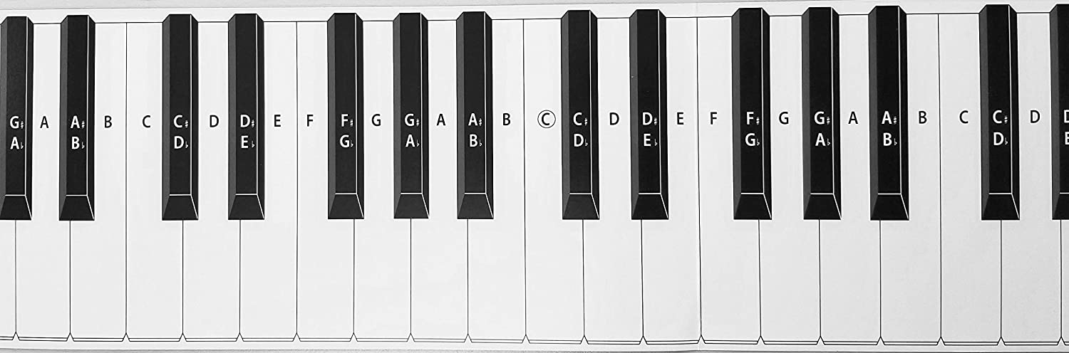 Amazon Practice Keyboard Note Chart For Behind The Piano Keys Musical Instruments