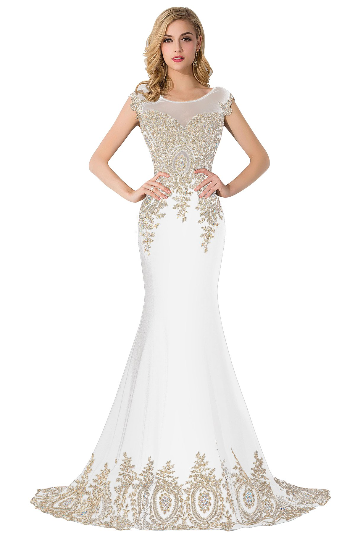 Babyonline Floor Length Evening Dress Lace beads Cap Sleeve Party Prom gowns,white,size:14